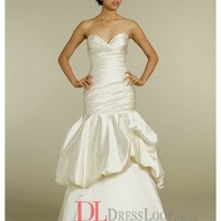 Antique Satin A-Line Gathered Elongated Corset Bodice Bridal Gown TK2209