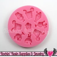 Ice Cream & Cocktail Drinks Cabochon SILICONE MOLD, Food Grade