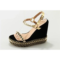 Women high platform wedge sandals open-toe buckle strap gold rivet sandals ladies casual and party shoes sandals