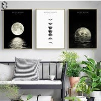 Phases of the Moon Print and Poster, Wall Art Paintings for Living Room Nordic Decoration, Canvas Picture Christmas Wall Decor