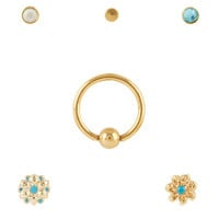 Steel Gold Flower Blue CZ Nose Stud & Hoop 6 Pack
