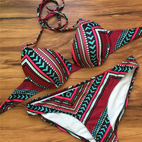 Red Tribal Pattern Halter Triangle Bikini