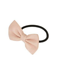 Faux Leather Bow Hair Elastic - Nude
