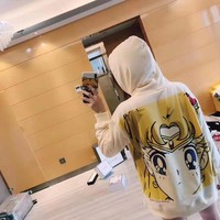 Clover Multicolor Sailor Moon Cartoon Characters Letter Print Long Sleeve Sportswear Hooded Sweater Tops
