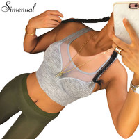 Athleisure bra hot sale 2016 fitness slim sexy mesh splice tank top fashion bandage cropped tops active push up bralette sale