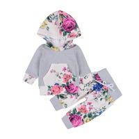Pudcoco Newborn Baby Infant Girls Boys Clothes Flower Tops Long Sleeve Outfits Flower Pants Casual Hooded Baby Girl Clothing Set