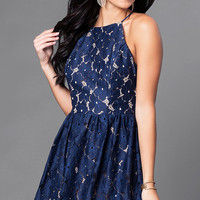 Short Navy and Tan Open-Back Lace Homecoming Dress