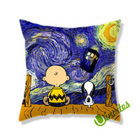 Snoopy the Starry Night Square Pillow Cover