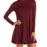 Burgundy Long Sleeve Trapeze T-Shirt Dress by Charlotte Russe