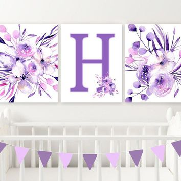 Lilac Purple WATERCOLOR Flower Wall Art, Baby Girl Monogram Letter Watercolor Floral Lilac Purple Nursery Decor, Set of 3 Canvas or Prints