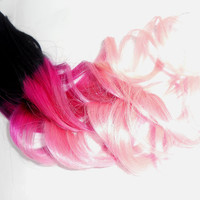 C O T T O N  Candy Pink/ H O T Pink/ Clip In Extensions / Real Human Hair / 24 Inches long / Full Set XX Long