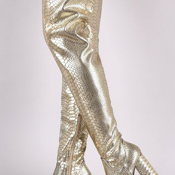 Holographic Snakeskin Chunky Heeled Over-The-Knee Boots