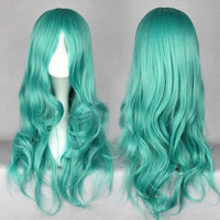 65cm long Pretty Soldiers Sailor Michiru synthetic heat resistant fiber long pink wig,Colorful Candy Colored synthetic Hair Extension Hair piece 1pcs WIG-209A