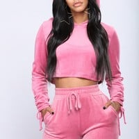 Racquel Ruched Velour Hoodie - Pink