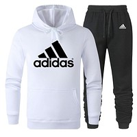 ADIDAS new men's tide brand hooded long-sleeved sweater + guard pants sports suit two-piece white