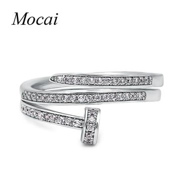 Fashion Crystal Simple Double Layer Ring Zircon Paved Tiny Thin Small Silver / Gold Color Women Jewelry ZK30