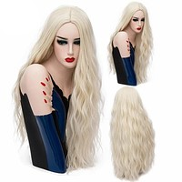 Wavy Synthetic long Blonde Wig 29 Colors Heat Resistant Hair