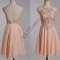 Short Coral Beaded Prom Dresses,Backless Party Grown Dresses,Short Chiffon Bridesmaid Dresses,Homecoming Dresses