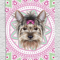Yorkshire Terrier Cute Young Funny Hair Dog Pet Portrait Pink Ethnic Tribal Bohemian Hippie Indian Mandala Wall Hanging Tapestry Living Room Bedroom Dorm Decor, Pink Green Beige Black