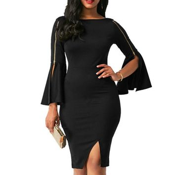 Bell Sleeved Bodycon Dress with Zipper Detail