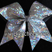 Cheer Bow - Silver Holographic Bow