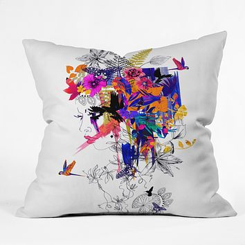 Holly Sharpe Tropical Girl Colourway Throw Pillow