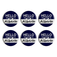 Alberto Hello My Name Is Plastic Resin Button Set of 6