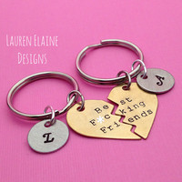 Best F-ing Friends Hand Stamped Broken Heart With Initials Keychain Set- In Brass, Copper, or Aluminum- EXPLICIT