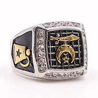 Shriner Fez Camel Masonic Rhinestone Ring