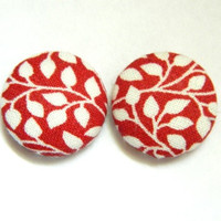 Button Earrings Red- White Leaves Fall Autumn