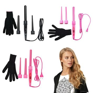 DODO 3 Parts Clip Iron Hair Curler Set Hair Curling Kits Hair Care Styling Tools Wand Interchangeable Tourmaline Ceramic