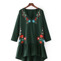 BB40-7278 European style wind flower Plaid embroidered dress W0913