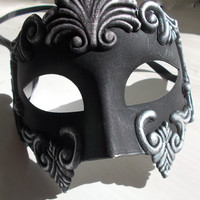 half face goth style mask, handmade and handpainted black and grey colours, masquerade by mademeathens
