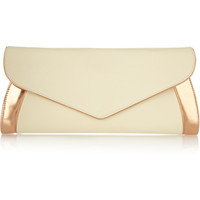 See by Chloé|Anna oversized leather and metallic patent-leather clutch|NET-A-PORTER.COM