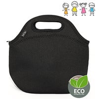 Bop Insulated Neoprene Kids Lunch Bag, Meal Tote for School, Kindergarten, Durable, Unisex Pattern, [9.5x9.5x5 Inches], (Black)