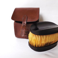 Mens Ebony Hair Brushes in Leather Travel Case, Vintage Grooming Accessory, Edwardian Leather Male Vanity Item Gift Stocking Stuffer