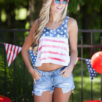 American Flag Print Tank Top Loose Fit  Summer Vest