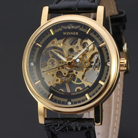 Mechanical Hand-wind Men Watches Fashion Style Classic Carving Skeleton Dial Genuine Leather Strap ( White , Black )