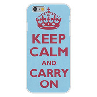 Apple iPhone 6 Custom Case White Plastic Snap On - Keep Calm and Carry On Crown