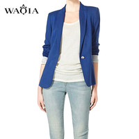 2016 New Spring Autumn European Fashion Women Long Sleeve Suits Blazer Foldable Brand Jackets Vogue Candy Colors Blazers Outwear