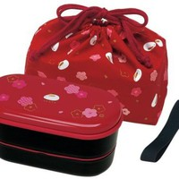 Japanese 2 Tiers Bento Lunch Box with Belt , Bag Chopsticks, Red Blossom and Bunny