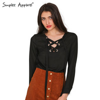 Simplee Apparel Elegant black lace up chiffon blouse shirt Women tops long sleeve blouses feminina Spring v neck blusas xmas XL