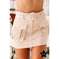 Woman In Charge Utility Skirt (Beige)