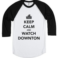 Keep Calm and Watch Downton-Unisex White/Black T-Shirt