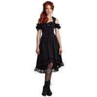 Ladys Lace Trimmed Steampunk Dress - LS-102 from Dark Knight Armoury
