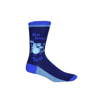 Drum Set Crew Socks in Blue