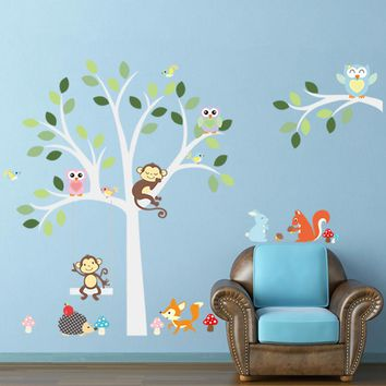 Animal Monkey Owl Swing Tree Wall Sticker for Kid Baby Children Room Home Decorations PVC Removable Wall Decal Zoo Wall Stickers