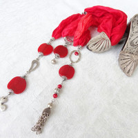 Red Jewelry Scarf, Turkish Silk Necklace,  Scarf Necklace, Fashion Accessories, Women Scarf Necklace, Silver Necklace Christmas Gifts