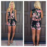 Bed Of Roses Romper With Pockets - BLACK