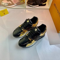 LV Louis Vuitton Men's And Women's Leather Run Away Sneakers Shoes